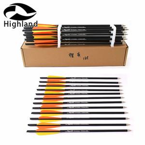 12pcs Target Arrows Bullone Bullone Bullone da 16/20 pollici Bulloni della balestra Freccia del carbonio per tiro con l'arco Scatto di caccia con Arancione Giallo Feathe Q1201