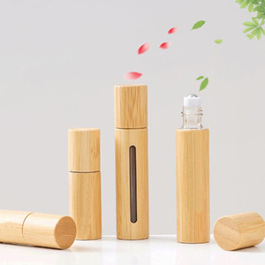 Natural Bamboo Glass Essential Oil Bottle 3ml 5ml 10ml Refillable Empty Essential Oil Perfume Fragrance Scent Steel Roller Ball Bottles