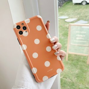 Simple Orange Polka Dot Mobile Case For iPhone 7Plus 8 11 12 Pro Xs Max Xr X Shockproof Cell Phone Cover