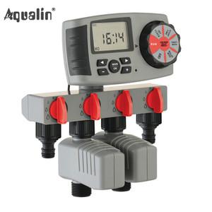Aqualin Automático Sistema de riego de 4 zonas Riego Temporizador de agua Sistema de controlador de temporizador de agua con 2 válvulas solenoides # 10204 y200106