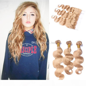 Honey Blonde Virgin Hair 3 Bundles With Lace Frontal Closure Malaysian #27 Bleach Blonde Body Wave Human Hair Weaves With 13*4 Frontal