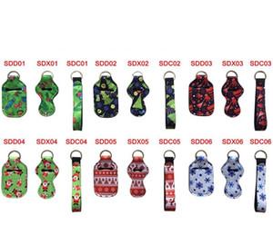 Christmas Styles 30ML Hand Sanitizer Bottle Holder Keychain Bags Keychain Chapstick Holder Neoprene Wristlet Wholesale Hand Soap Holder Set