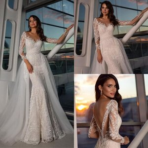 Luxury Mermaid Wedding Dresses Lace Appliqued Long Sleeves Overskirts Bridal Dress with Detachable Train Vestidos De Novia