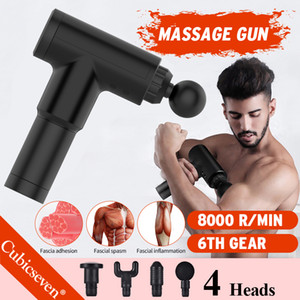 Cubicseven® Upgrade 6 Levels Adjustable 8000r min USB Rechargeable 4 Heads Massage Gun Touch Screen Deep Tissue Percussion Muscle Massager
