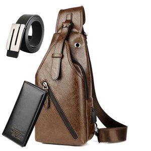 Men Cross Body Bag 3 Pcs set Men Fashion Heuptas Casual Chest Bag + Wallet + Belt Waist Bag