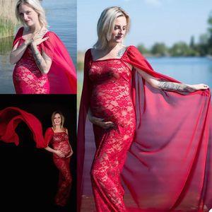 Red Maternity Evening Dresses with Cape Custom Made Prom Gowns See Through Photoshot Party Dress vestido de novia P127