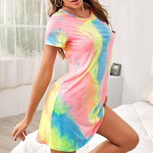 2020 New Summer Sexy Women Sleeveless Party Rainbow Printed Glamorous Mini Dress Tie Dyeing Graffiti Beach Vestidos 25