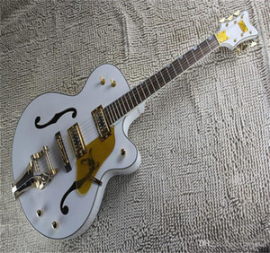 Free shipping Factory Custom White Falcon 6120 Semi Hollow Body Jazz Korean Tuners Electric Guitar With Tremolo