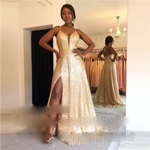 Gold Sequined Evening Dresses 2021 Sexy Side Split African Prom Party Gowns For Black Girls Robe De Doiree De Mariage