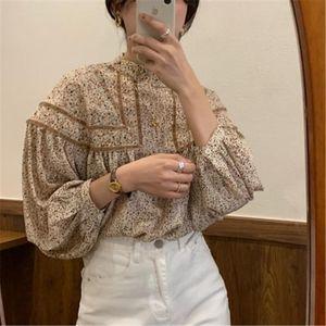 Floral Gentle Hot Sweet Retro Women Shirts Lantern Long sleeves Patchwork 2020 New Arrivals Elegance Female Blouses