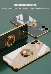 Funda de anillo de metal de tpu de lujo para Coque iPhone 12 11 Pro Max Mini XS XR X 7 8 Plus SE 2020 iPhone11 Cubiertas de teléfono suave Funda