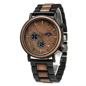 2020 Moon Phase Steel Watch Men Chronograph Date Oak Male Oclock Drop Shipping Online Timepiece in Bamboo Wood Box