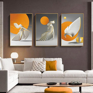 Creative Abstract Orange Sun Canvas Poster Wall Art Painting Nordic Posters And Prints Wall Pictures For Living Room Home Decor