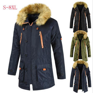 2020 New Men Long Cotton Jacket Wool Collar Thick Warm Winter Jacket Men Large Size S-8XL
