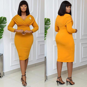 MD Woman Dress 2021 Spring Summer Slim Office Pencil Bodycon Dresses Elegant Lady Outfits V-neck African Clothing Fashion Robe