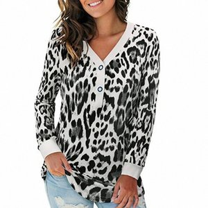 Women T Shirt Leopard Printed Buttons V Neck Tee Tops Long Sleeve Top women Top?Spring New Tshirt Embroidery Top ropa de mujer #v76a