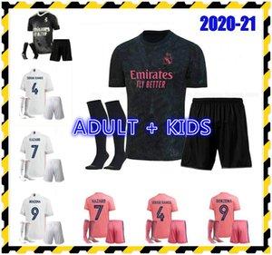 Kit adulte Real Madrid Soccer Jersey Kit Kit Enfants Hazard Hazard Asensio Sergio Ramos Camiseta 2020 2021 Vini JR Mendy Football Shirts
