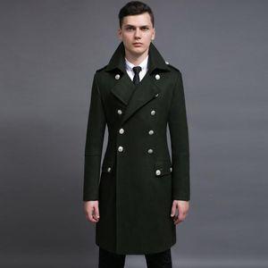 Oln Laine Mens manteau de luxe à double boutonnage de style longue trench d'automne et d'hiver plus taille 5XL 6xl Mens vestes et manteaux