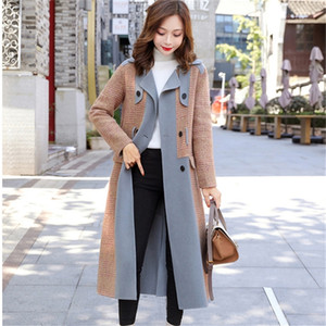 Office Lady Slim Womens Long Coats Winter Fashion Solid Wool Blend Coat and Jacket Ladies Coats 201215