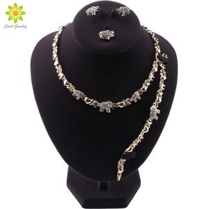 Fashion Gold Color Cute Elephant Shape Necklace Bracelet Earrings Ring Women Fine Jewellery Set Christmas Present Girl gifts Z1201