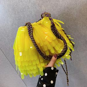 Designer- Elegant Female Tassel Tote bag Summer New Quality PVC Women's Handbag Travel Shoulder Messenger Bag