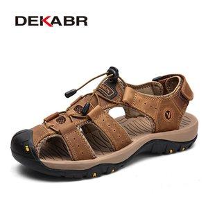 Wholesale Nuevos zapatos masculinos de cuero genuino Sandalias Sandalias de verano Sandalias de playa Sandalias Hombre Moda al aire libre Zapatillas de deporte Casual Tamaño 48
