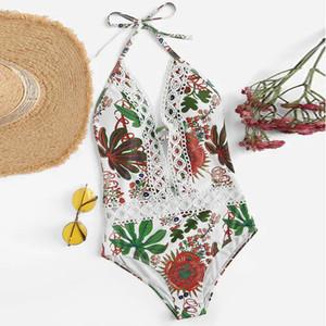Female Swimwear Women Push Up Printed Bikini Beach Bathing Monokini Swimsuit Women's Beach Swimwear Swimming Costume Q1230