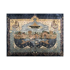 71x47cm Classic Castle Tapestries Wall Hanging Hand Knotted Art Silk Rug Tapestries Dorm Home