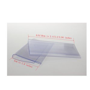10 8 6cmx4cm Clear Plastic PVC Price Tag Sign Label Display Clip Holder For Supermarket Store Wood Glass Shelf Fitting 50pcs