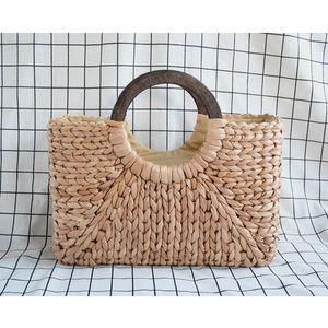 Designer-New Fashion Corn Husk Square Bucket Bag Female Summer Straw Bag Women Wooden Handle Handbag Corn Woven Totes