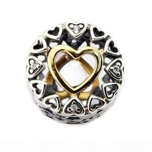Memnon Jewelry 925 Sterling Silver Hearts Beads With Clear CZ & 14K Soild Gold Heart Christmas Charms For Bracelets DIY Jewelry Making