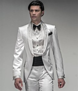 Custom Made Groom Tuxedo White Groomsmen Diamond WeddingDinner Suits Best Man Bridegroom (Jacket+Pants+Tie+Vest)