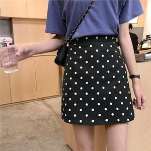 Contrast color wave point package hip skirt female 2020 Korean version of the small fresh wild high waist anti light A skirt