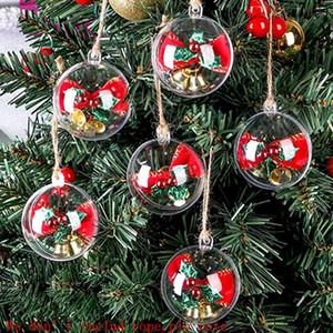 Decoração de Natal Plástico Transparente Esfera Shopping Janela Decoração de Janela Suspensão Bola Fileble Ornaments Bola 5cm 8cm HH9-3696