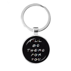 Friends Tv Show Keychain 25th Anniversary Series Cartoon Fun Pattern 25mm Glass Cabochon Key Ring Keyholder for Good Friend Gift