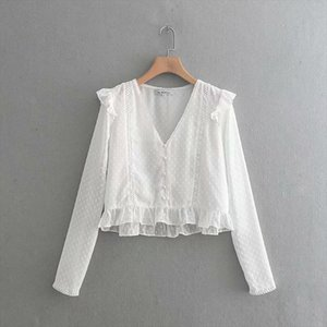 BBWM WOMAN Spring Summer Women Black White Splice Za Shirts 2019 New Fashion Voile Long Sleeve V neck Lace Blouse Tops