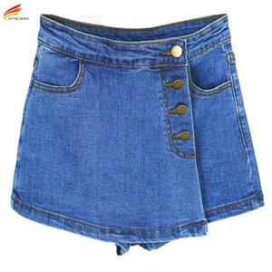 Hohe taillierte Denimshorts für Frauen Sommer Skorts Röcke Slim Blue Short Jeans Vintage Kurzer Skort Damen Hoher Qualität Verkauf Y200512