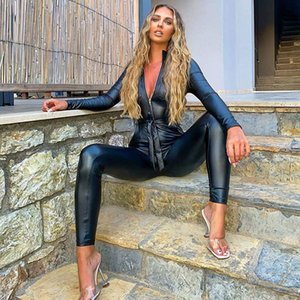 Sexy Deep V Faux Leather Jumpsuit Women Long Sleeve Sexy V Neck Quality Pu Leather Jumpsuit Black Slinky Club Overall Outfits