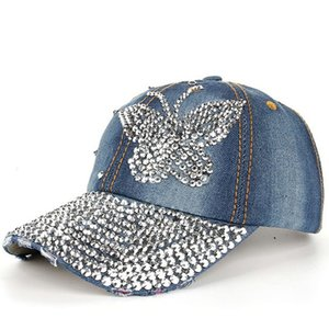 New Denim Baseball Caps Creative Glitter Butterfly Rhinestone Casual Hats for Women Simple Versatile Outdoor Travel Sun Hats Drop Shipping