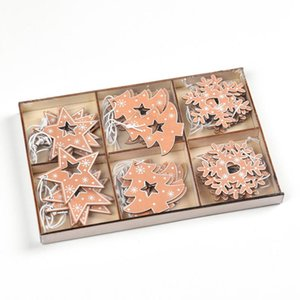 Christmas Tree Decoration pendant wooden Star Christmas tree snowflake pendant box package trinkets