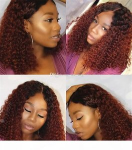 Ombre #1bT99J Kinky Curly Silk Top Full Lace Wigs With Natural Hairlines 100% Unprocessed Human Hair Wigs Bleached Knots Lace Front Wig