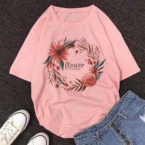 Flower VECTOR FRAME Letter Print Shirt Womens Short Sleeve O neck Loose Shein 2021 New Summer Female Vintage Blouse Women Tops