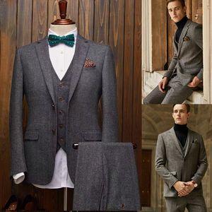 Mens Blazers Wool Blend Groom Tuxedos Two-Button Groomsmen 2021 New Custom Made Best Man Suit Wedding 3 Pcs Suits (Jacket+Vest+Pants)