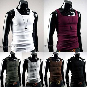 Wholesale- Hot Selling Men Vest T-Shirt Summer Undershirt Mens Tshirt A-Shirt Wife Beater Ribbed Muscle Vest Top New Fashion1
