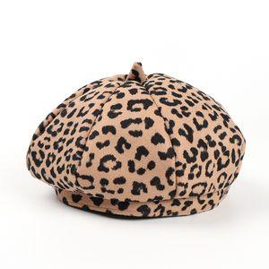 Mode Frauen Retro Leopard Barett Prinzessin Mädchen Wolle Beret Fedora Bonnet Damen Octagonale Kappe Trilby Beanie Hat Maler Newboy Hut CZ120803