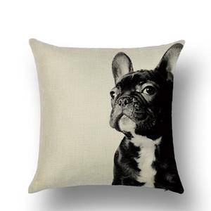 جديد لطيف الحيوان وسادة القضية الفرنسية البلدغ الكلب القط وسادة غطاء الكتان رمي سادات أريكة مكتب سيارة ديكور المنزل 19 تصاميم PPD4137