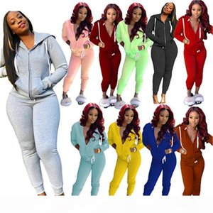 Autumn Womens Designer 2pcs Pants Fashion Womens Solid Sports Set Casual Apparel with Zipper Women 2 Piece Outfit Set Clothing