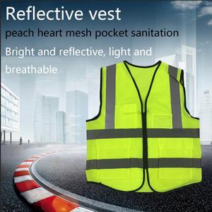 Reflective Vest Peach Heart Mesh Pocket Sanitation Reflective Vest Car Traffic Building Protective Reflective Clothing 5 Colors
