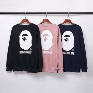 20fw autumn new ape head embroidery printing English Cotton Terry round neck Pullover Sweater