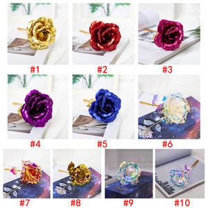 Christmas Day Gift 24k Gold Foil Plated Rose Creative Gifts Lasts Forever Rose For Valentine's Day Girl Gift EEA52